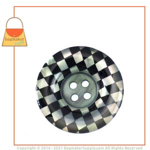 Representative Image of 1-1/4 Inch Checkerboard Button, Black and White