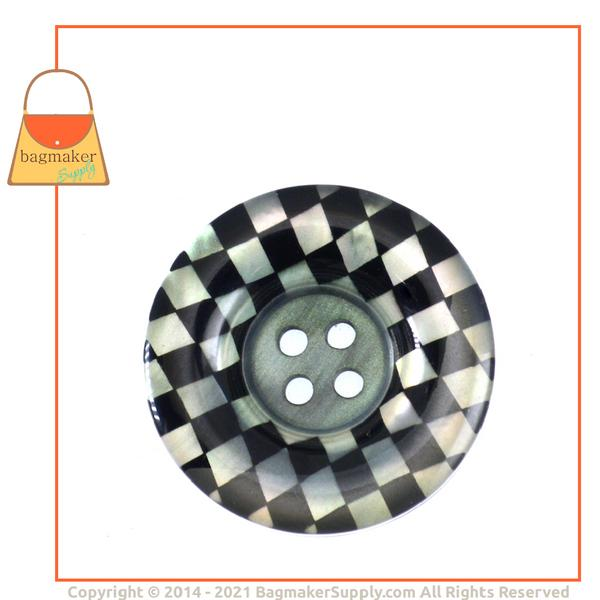 Representative Image of 1-1/4 Inch Checkerboard Button, Black and White (BSN-AA010))