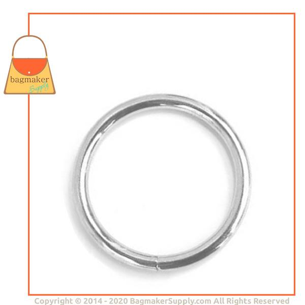 Representative Image of 1-1/2 Inch Wire Formed O Ring, 6.3 mm Gauge, Welded, Nickel Finish (RNG-AA007))
