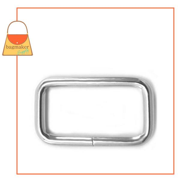 Representative Image of 1 Inch Wire Formed Rectangle Ring, 3 mm Gauge, Not Welded, Nickel Finish (RNG-AA011))