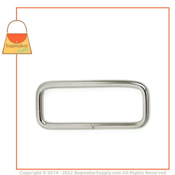 Representative Image of 1-1/2 Inch Wire Formed Rectangle Ring, Not Welded, Nickel Finish (RNG-AA012))