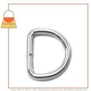 Representative Image of 3/4 Inch Wire Formed D Ring, Welded, Nickel Finish