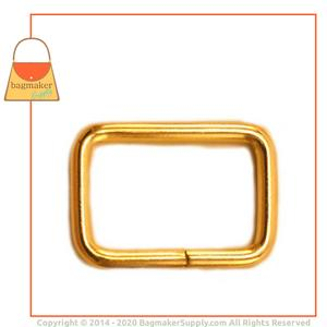 Representative Image of 3/4 Inch Wire Formed Rectangle Ring, Not Welded, Brass Finish