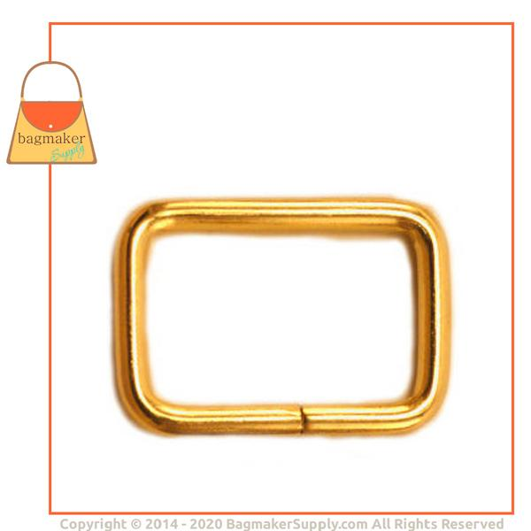Representative Image of 3/4 Inch Wire Formed Rectangle Ring, Not Welded, Brass Finish (RNG-AA020))