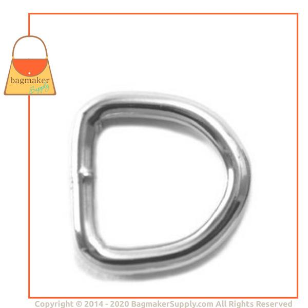 Representative Image of 1/2 Inch Wire Formed D Ring, Welded, Nickel Finish (RNG-AA022))