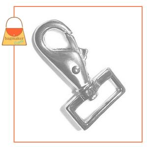 Representative Image of 1 Inch Lobster Claw Swivel Snap Hook, Square End, Nickel Finish