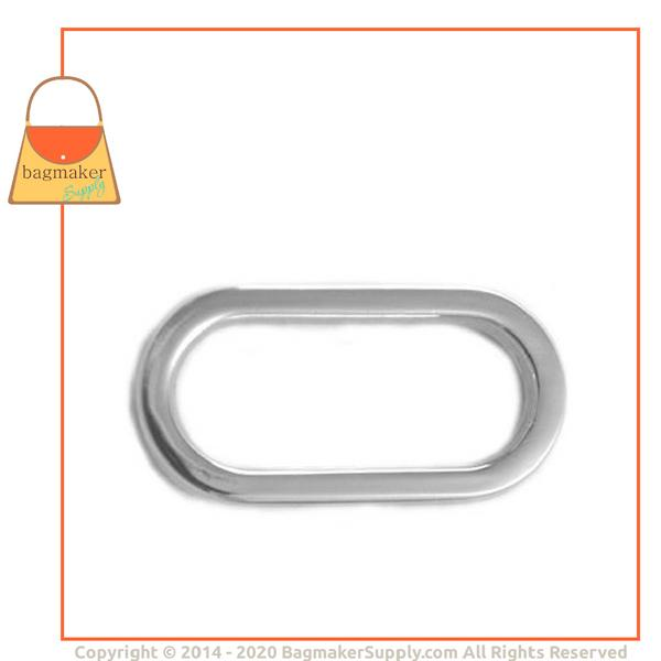 Representative Image of 1 Inch Flat Cast Oval Ring, Nickel Finish (RNG-AA032))
