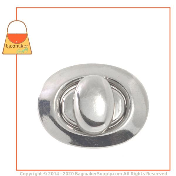 Representative Image of 1-1/8 Inch x 7/8 Inch Oval Turn Lock / Twist Lock, Nickel Finish (CSP-AA002))