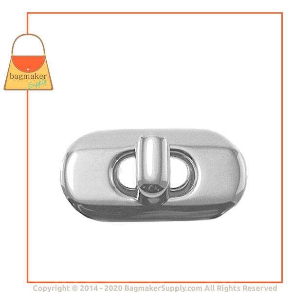 Representative Image of 1-3/8 Inch x 3/4 Inch Oval Turn Lock / Twist Lock, Nickel Finish (CSP-AA004))