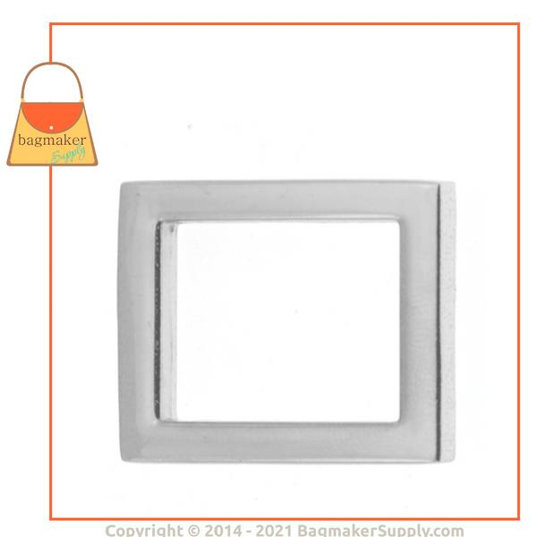 Representative Image of 1 Inch Flat Cast Rectangle Ring, Nickel Finish (RNG-AA035))