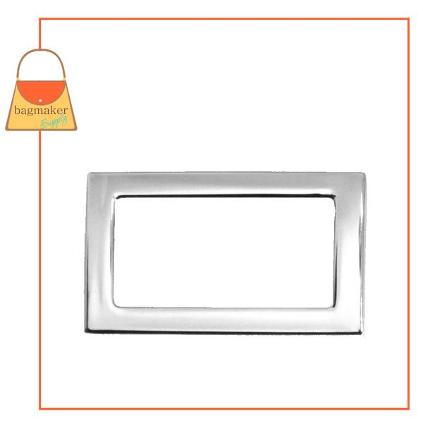Representative Image of 3/4 Inch Flat Cast Convex Rectangle Ring, Nickel Finish (RNG-AA038))