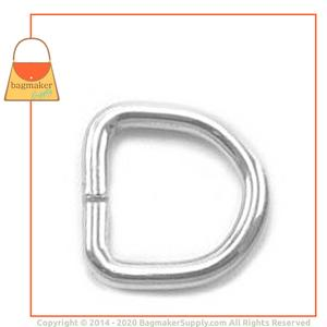 Representative Image of 3/8 Inch Wire Formed D Ring, Welded, Nickel Finish