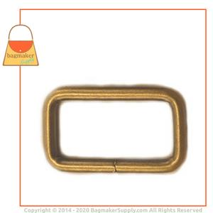 Representative Image of 1 Inch Wire Formed Rectangle Ring, Not Welded, Antique Brass Finish