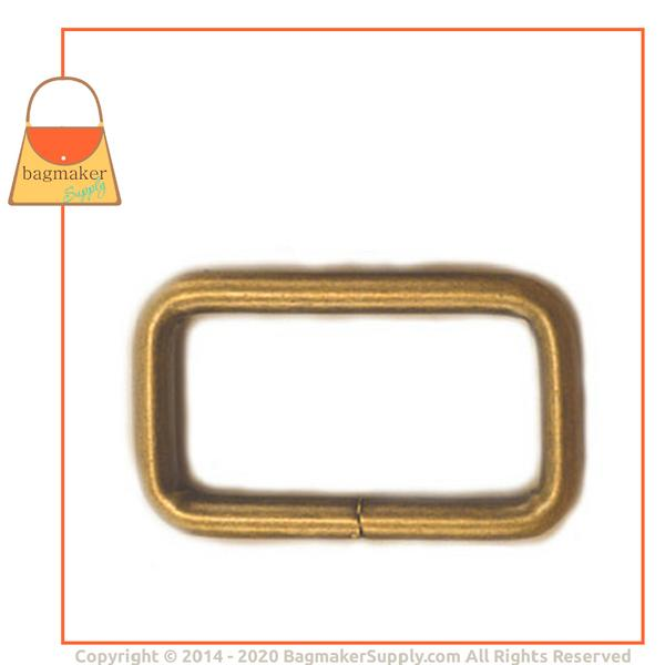 Representative Image of 1 Inch Wire Formed Rectangle Ring, Not Welded, Light Antique Brass / Antique Gold Finish (RNG-AA050))