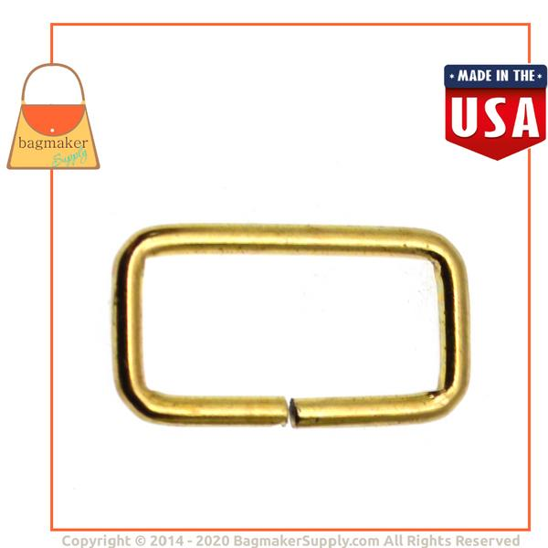 Representative Image of 1 Inch Wire Formed Rectangle Ring, 3 mm Gauge, Not Welded, Brass Finish (RNG-AA051))