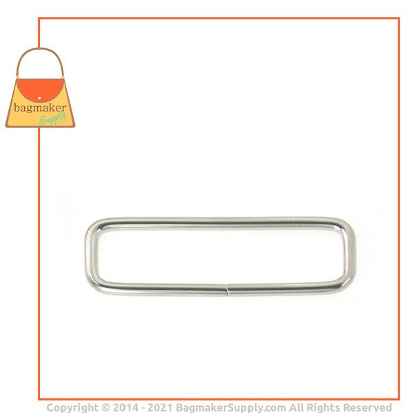 Representative Image of 2 Inch Wire Formed Rectangle Ring, 3 mm Gauge, Not Welded, Nickel Finish (RNG-AA052))