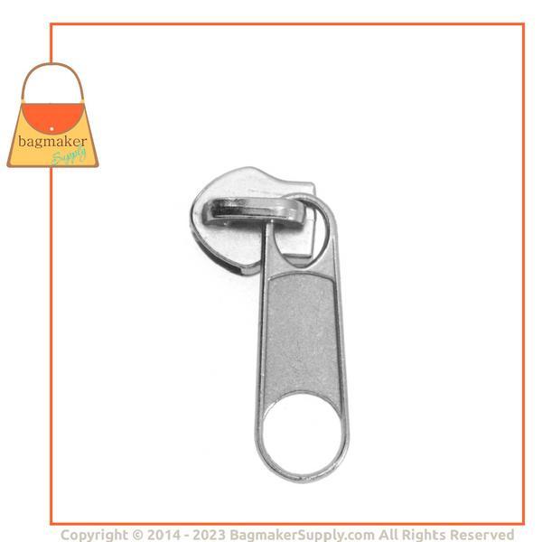 Representative Image of Size 5 Long Tab Zipper Pull / Slide, Nickel Finish (ZPP-AA004))