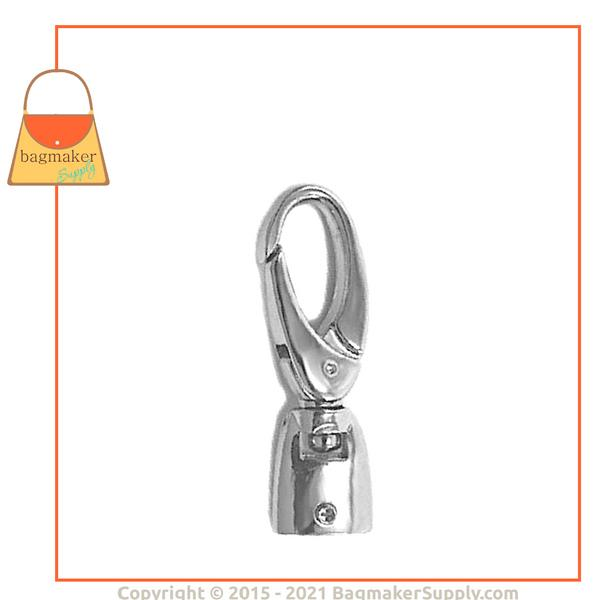 Representative Image of 1/2 Inch Flat Cord End Swivel Snap Hook, Nickel Finish (SNP-AA008))