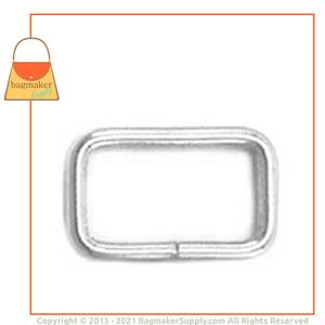 Representative Image of 5/8 Inch Wire Formed Rectangle Ring, Not Welded, Nickel Finish