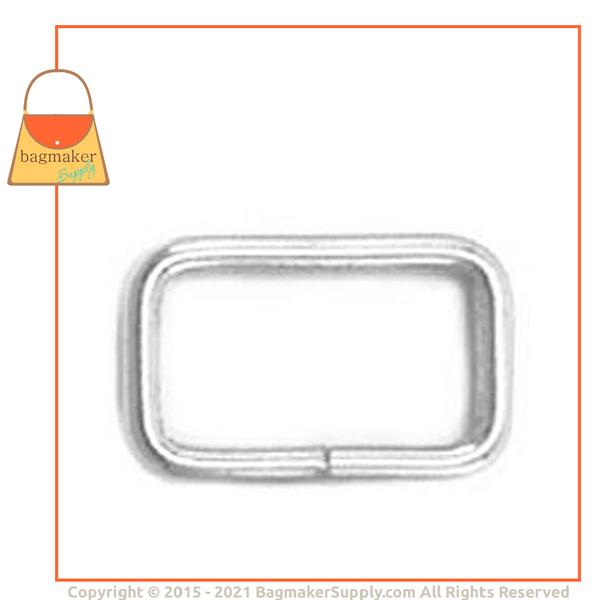 Representative Image of 5/8 Inch Wire Formed Rectangle Ring, Not Welded, Nickel Finish (RNG-AA054))