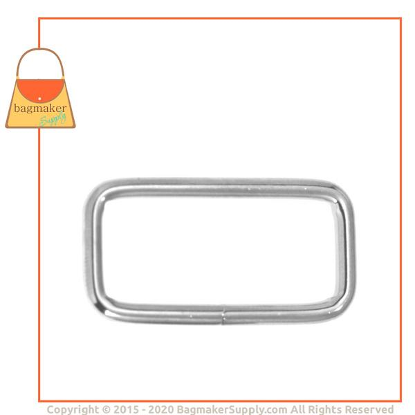 Representative Image of 1-1/4 Inch Wire Formed Rectangle Ring, 3 mm Gauge, Not Welded, Nickel Finish (RNG-AA055))