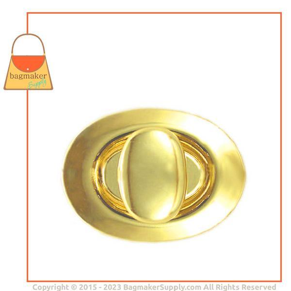 Representative Image of 1-1/8 Inch x 7/8 Inch Oval Turn Lock / Twist Lock, Brass Finish (CSP-AA009))
