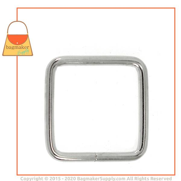 Representative Image of 1 Inch Wire Formed Square Ring, 2 mm Gauge, Nickel Finish (RNG-AA061))