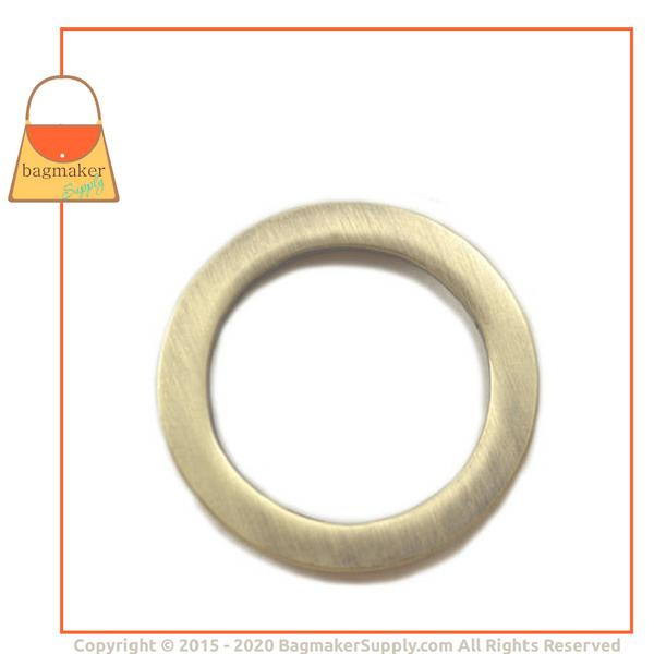 Representative Image of 1 Inch Flat Cast O Ring, Light Antique Brass / Antique Gold Finish (RNG-AA066))