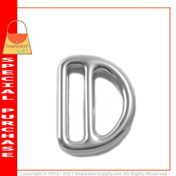 Representative Image of 1 Inch Cast Double D Slide, Italian Made, Nickel Finish (SLD-AA019))