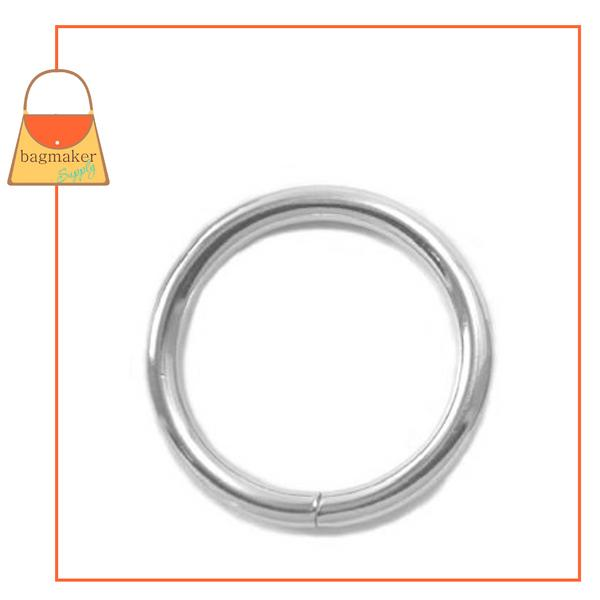Representative Image of 1 Inch Wire Formed O Ring, Not Welded, Nickel Finish (RNG-AA070))