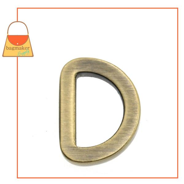 Representative Image of 1/2 Inch Flat Cast D Ring, Light Antique Brass / Antique Gold Finish (RNG-AA072))