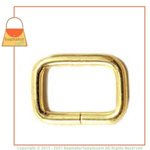 Representative Image of 5/8 Inch Wire Formed Rectangle Ring, Not Welded, Brass Finish