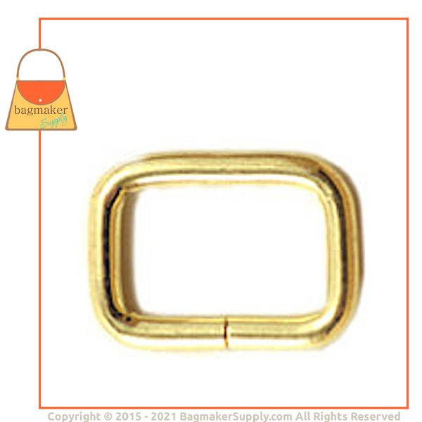 Representative Image of 5/8 Inch Wire Formed Rectangle Ring, Not Welded, Brass Finish (RNG-AA082))