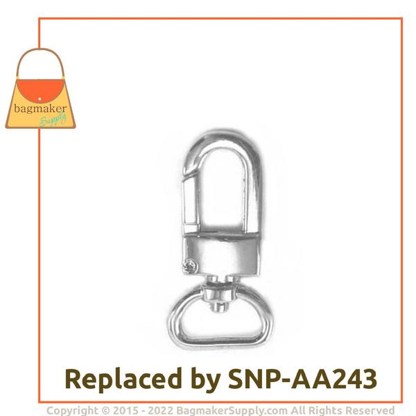 Representative Image of 1/2 Inch Lobster Claw Swivel Snap Hook, Nickel Finish (SNP-AA010))