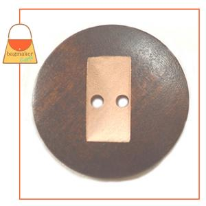 Representative Image of 1-3/8 Inch Round Wood Button with Carved Rectangle Shape, Dark Brown / Natural