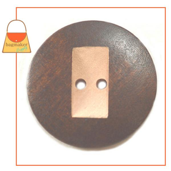 Representative Image of 1-3/8 Inch Round Wood Button with Carved Rectangle Shape, Dark Brown / Natural (BTN-AA005))