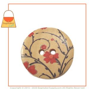 Representative Image of 1-3/16 Inch Wood Button, Natural with Floral Design