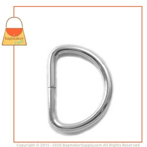 Representative Image of 1 Inch Wire Formed D Ring, Not Welded, Nickel Finish