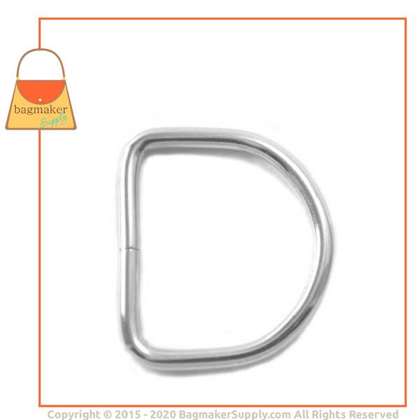 Representative Image of 1-1/4 Inch Wire Formed D Ring, 3 mm Gauge, Not Welded, Nickel Finish (RNG-AA086))