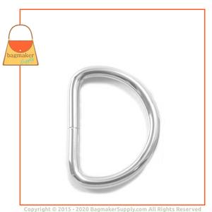 Representative Image of 1-1/2 Inch Wire Formed D Ring, Not Welded, Nickel Finish