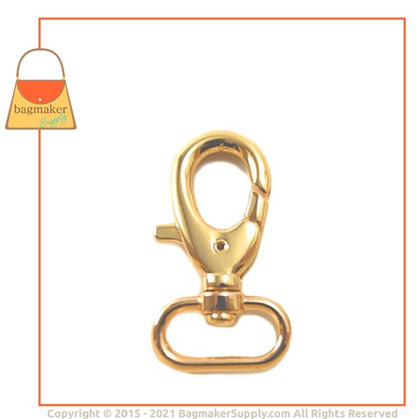 Representative Image of 1 Inch Lobster Claw Swivel Snap Hook, Gold Finish (SNP-AA012))