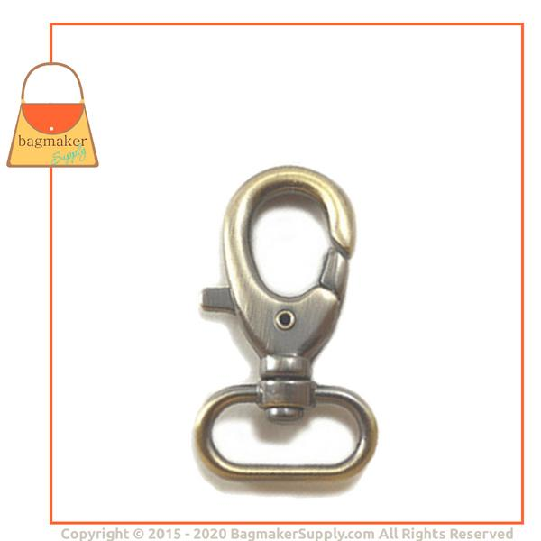 Representative Image of 1 Inch Lobster Claw Swivel Snap Hook, Light Antique Brass / Antique Gold Finish (SNP-AA013))