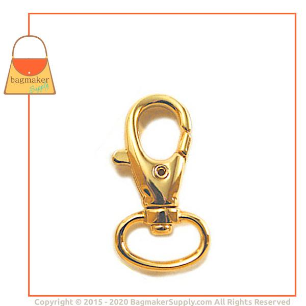 Representative Image of 1/2 Inch Lobster Claw Swivel Snap Hook, Gold Finish (SNP-AA017))