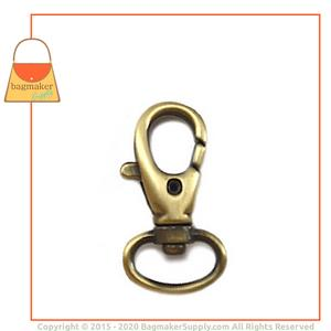 Representative Image of 1/2 Inch Lobster Claw Swivel Snap Hook, Antique Brass Finish