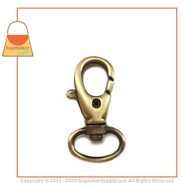 Representative Image of 1/2 Inch Lobster Claw Swivel Snap Hook, Light Antique Brass / Antique Gold Finish (SNP-AA018))