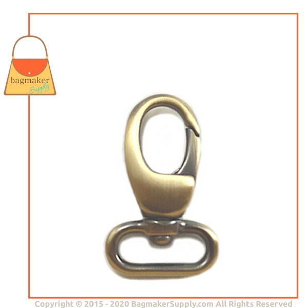 Representative Image of 3/4 Inch Lobster Claw Swivel Snap Hook, Light Antique Brass / Antique Gold Finish (SNP-AA021))