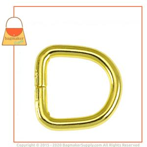 Representative Image of 3/8 Inch Wire Formed D Ring, Not Welded, Brass Finish
