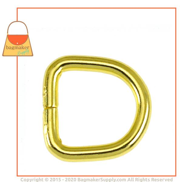 Representative Image of 3/8 Inch Wire Formed D Ring, Not Welded, Brass Finish (RNG-AA089))