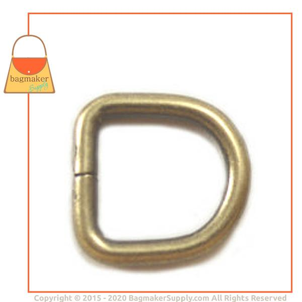 Representative Image of 3/8 Inch Wire Formed D Ring, 2.2 mm Gauge, Not Welded, Light Antique Brass / Antique Gold Finish (RNG-AA090))