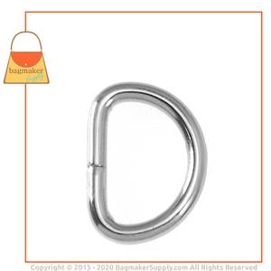 Representative Image of 5/8 Inch Wire Formed D Ring, Not Welded, Nickel Finish